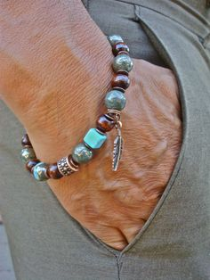 Mens Protection, Luck Tribal Bracelet with Semi Precious Peacock Ore/Chalcopyrite 10mm with stunning turquoise dashes, a cube Turquoise, dark brown