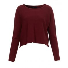 SLOUCH CROP JUMPER ($28) ❤ liked on Polyvore featuring tops, sweaters, long sleeve crop top, red top, red sweater, red jumper and slouchy tops