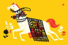 """""""Year of the Horse"""" Art Print by The Little Friends of Printmaking"""