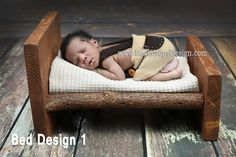 READY TO SHIP Photo Prop Newborn vintage Log Bed