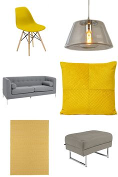 Yellow and grey décor theme from UK retailer dwell. Featuring an Eiffel-style dining chair, three seater grey fabric sofa and mustard rug. Fabric Sofa, Grey Fabric, Dining Room Office, Pallet Ideas Easy, Outdoor Dining Chair Cushions, Living Room Inspiration, Sofa Furniture, Lounge, Mustard Rug