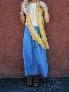 denim skirt, bandana scarf, camp moxie desert vibes tee