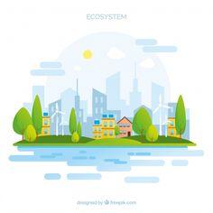 Ecosystem concept with city Free Vector Illustration Ligne, Flat Design Illustration, Landscape Illustration, City Background, Background Patterns, Graphic Pattern, Graphic Design, Vector Game, City Vector