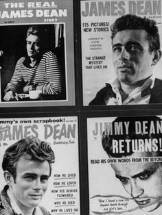 Pictures of Four Different Magazines Talking About the Life of Actor James Dean