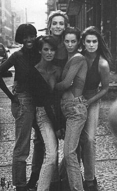 January 1990  Naomi Campbell, Tatjana Patitz, Christy Turlington and Cindy Crawford by Peter Lindbergh