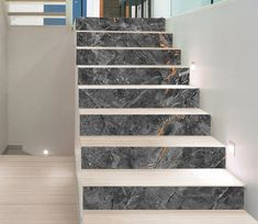 Stair Risers Murals & Decals - U. Delivery Page 7 Stairs Tiles Design, Home Stairs Design, Interior Stairs, Floor Design, Tiled Staircase, Marble Stairs, Staircase Remodel, Stairs Without Risers, Stair Risers