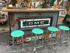 man cave garage DIY Automotive Car - These old car parts have actually been upcycled right into several of the most amazing as well as imaginative DIY tasks I've ever seen! Rustic Man Cave, Man Cave Diy, Man Cave Home Bar, Car Man Cave, Car Part Furniture, Automotive Furniture, Automotive Decor, Furniture Ideas, Handmade Furniture