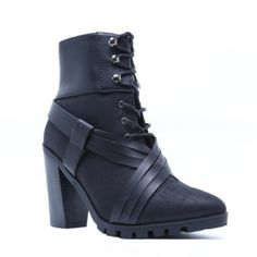 """NOW AVAILABLE❤️ GRAB A PAIR BEFORE THEY'RE ALL GONE. LIMITED SIZES AVAILABLE❤️  Ultra chic lace up bootie. This shoe features a leatherette upper, pointy toe, lace up tie design through grommets, crisscross brown strappy detail set on a lug sole & stacked heel. Wickedly funky & fresh! BRAND NEW W/ BOX. ALL BLACK, suede & leather. ONLY AVAILABLE IN 6 & 8.5   •Material: Man made, leatherette •Sole: Synthetic •Heel Height: 3 1/4""""(approx) •Fitting: True to size  ❗️LEAVE UR SIZE BELOW❗️  PRICE IS…"""