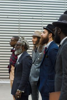 LOVE this. Vintage tailoring line-up of the usual suspects at #PittiUomo #Pitti. Subscribers should click here for more street shots live from the show. WGSN street shot, Pitti Uomo