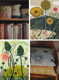 Floral Textile Designs by British printmaker and textile designer Angie Lewin.