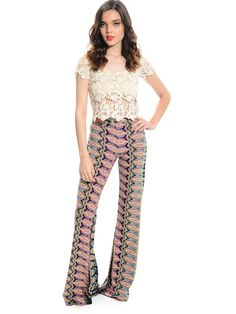 PinkMix Paisley-Inspired Printed Pants | $12.99 | Cheap Trendy Pants Chic Discount Fashion for Women