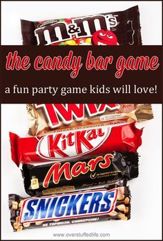 The candy bar game—a super simple party game that will provide a ton of fun for all ages! #overstuffedlife Christmas Party Themes For Adults, Birthday Party Games For Kids, Party Games For Tweens, Christmas Games For Family, Teenage Party Games, Holiday Games, Sleepover Games Teenage, Birthday Party Games Indoor, Thanksgiving Family Games