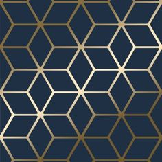 House of Alice Cubic Shimmer Metallic Wallpaper Navy Blue Gold - Wallpaper from I Love Wallpaper UK Blue And Gold Wallpaper, Navy Wallpaper, Metallic Wallpaper, Bathroom Wallpaper, Geometric Wallpaper, Blue Wallpapers, Pattern Wallpaper, Navy Living Room Wallpaper, Trellis Wallpaper