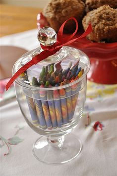 Crayons are an inexpensive option for apothecary jar filling.  And colorful, too!
