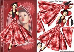 1950s Lady in Red Fashion Reflections Decoupage