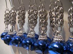 12 Persian weave Chainmail Jingle Bell Ornaments, Blue Bell Ornamets w/ Full Persian chainmaille for your Yule, X-Mas and Holiday…