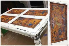 Rust Patina Finish on Textured Table Insets   Project by Hoity Toity Peacock with Modern Masters Metal Effects
