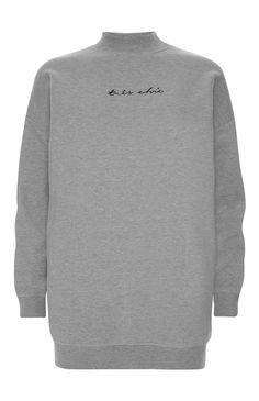 Primark - Lange grijze trui met tekst Très chic