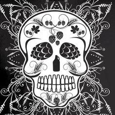 Craft Beer Sugar Skull - Dia de los Muertos Black T-Shirt