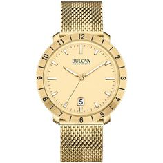 4752 Bulova Accutron II Gold with calendar and mesh gold band $550.00