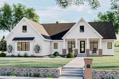 Plan Board and Batten Modern Farmhouse with Expansion Possibilities Cottage Exterior, Dream House Exterior, Modern Farmhouse Exterior, Farmhouse Style, Architectural Design House Plans, Architecture Design, Architecture Board, Board And Batten Exterior, Ranch Style Homes