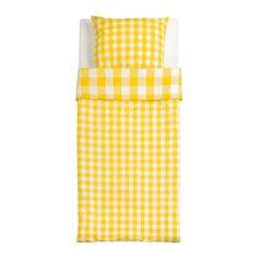 IKEA - SVEDSTARR, Bettwäscheset, 2-teilig, 140x200/80x80 cm, , Der Reißverschluss hindert die Decke am Herausrutschen.Der Kissenbezug mit verdecktem Reißverschluss lässt sich leicht abnehmen.