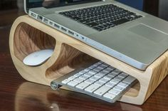wooden laptop stand with keyboard storage