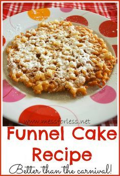 Carnival Funnel Cake Recipe: Simple to make and better than what you get at the carnival. #funnel-cake