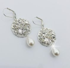 Wedding Rhinestone Earrings Bridal Pearl by OliniBridalJewelry, $28.00