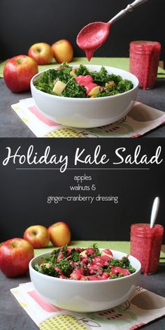 A hearty, warm, holiday kale salad recipe starring seasonal fruits and veggies.   @autumngloryapple