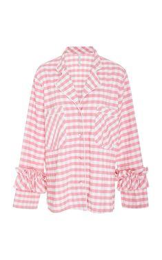 Shop Pajama Rou Button Down Top. This **Alcoolique** Pajama Rou Button Down Top features double front patch pockets and ruffle detailing at the wrists. New Woman, Rain Jacket, Windbreaker, Pajamas, Ruffle Blouse, Skirts, T Shirt, Pants, Jackets