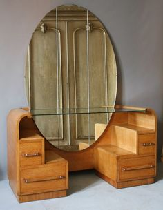 Love this art deco dressing table with the cityscape stair steps and the off-center, vertical oval mirror. Love this art deco dressing table with the cityscape stair steps and the off-center, vertical oval mirror. Art Deco Furniture, Retro Furniture, Plywood Furniture, Furniture Ideas, Barbie Furniture, Garden Furniture, Furniture Design, Repurposed Furniture, Mirror Furniture