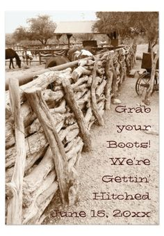 Grab your Boots! We're Getting' Hitched! Country Western Horse Corral Wedding Invitations. 40% OFF when you order 100+ Invites. #hitched #wedding #western #horses #country