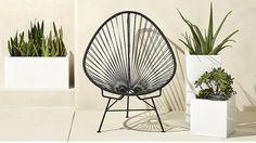 acapulco black egg outdoor chair | CB2