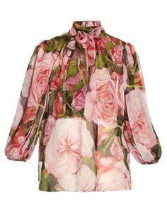 Rose-print chiffon blouse | Dolce