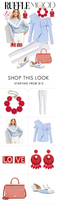 """""""Ruffle Mood - White, Red, Pale Blue"""" by giovanina-001 ❤ liked on Polyvore featuring ANNA, rag & bone, FAIR+true, Givenchy, Kenneth Jay Lane, Boutique Moschino and ruffledtops"""