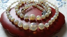 Czech Vintage Art Deco Moonstone Crackle 2Rows Glass Bead Necklace