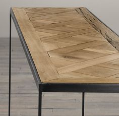 Repackage a beautiful floor and have coffee on it. Reclaimed Oak Parquet Console Table