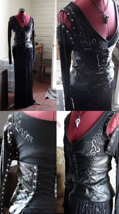 This is the Bellatrix Lestrange costume that I've made this year. It's handmade. I did the swirls, and punched and put in the grommets (which killed my hand. it's still a bit swollen...