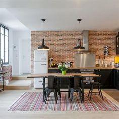Idée Déco Cuisine 2018 » salon cuisine moderne brique rouge | Idée ...
