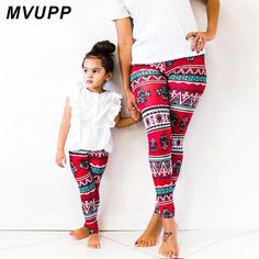 db05acf5a9d Hot Selling Women Autumn Winter Fashion Clothing for Mommy and me Leggings  Slim Casual Snowflake Floral Printed Christmas Pants. Mother Daughter ...