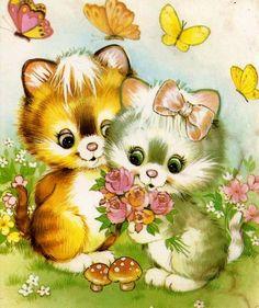 <3 Kätzchen <3 Vintage Cartoon, Vintage Cat, Cute Images, Cute Pictures, Cat Cards, Christmas Cats, Cute Illustration, Vintage Pictures, Cute Baby Animals