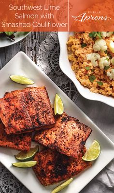 The Southwest Lime Salmon with Smashed Cauliflower is a big hit with those who want something quick, easy, and delicious. Smash the cauliflower coarsely if you prefer a chunky texture, or finely for s (Baking Salmon Treats) Seafood Dishes, Seafood Recipes, Cooking Recipes, Healthy Recipes, Shellfish Recipes, Healthy Meals, Keto Recipes, What's Cooking, Clean Recipes
