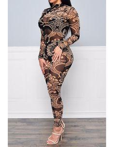 Black Long Sleeve See Through Tattoo Print Bodysuit Bodycon Jumpsuit