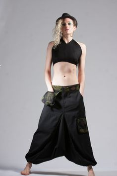 Unisex harem Trousers with patterned pockets £32.99  Goa Trance,Steampunk,Psytrance,Hippie,Boho,Tribal festival clothing. Pocket belts, hats and wrists Warmers.Come visit our shops in Camden and Greenwich Markets