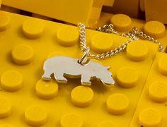 Collier et Breloque enfant hippopotame argent sterling 925 silhouette sciée à lamain, bijou joaillerie
