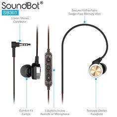SoundBot® SB303 Secure Fit Sports Active Earphone w/ Memory Frame & Human Engineering Design