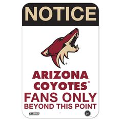 Arizona Coyotes Fans Only 8 Inch X 12 Inch Aluminum Sign *** You can get more details by clicking on the image. Arizona Coyotes, Aluminum Signs, Sports Toys, The Incredibles, Fans, Nhl, Man Cave, Image, Products
