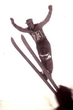 Grandpa ski-jumping at Norge