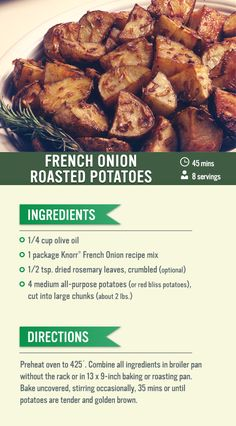 These savory french onion roasted potatoes are absolutely delicious. Try this recipe for dinner tonight!